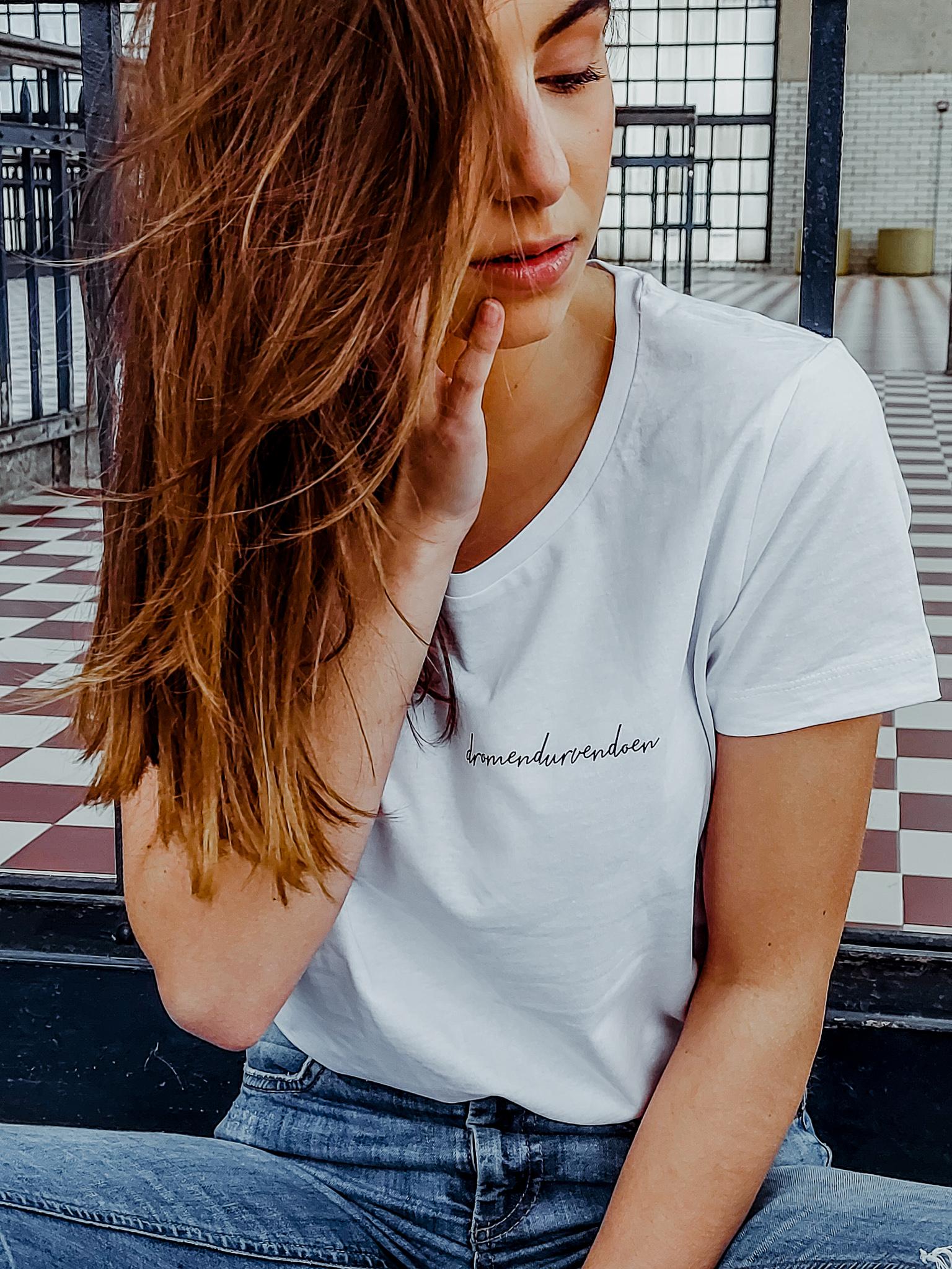 Iwrite4U wit dames T-shirt dromen durven doen
