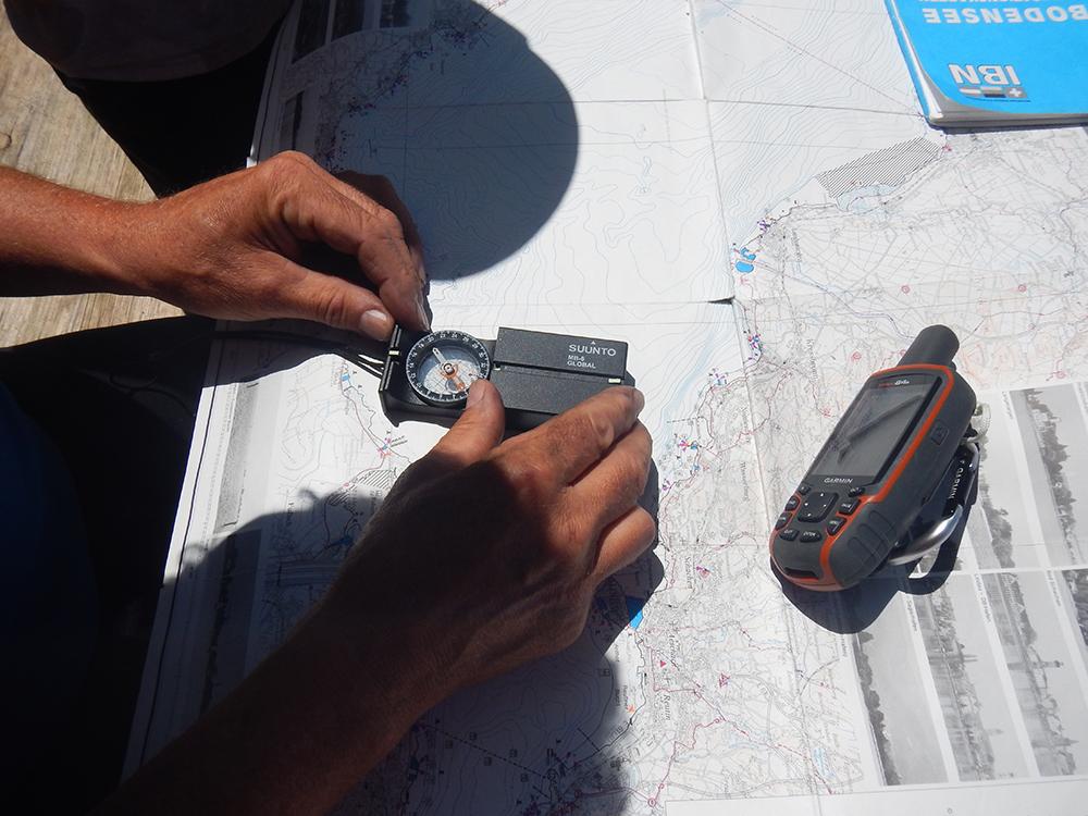 Navigieren mit Karte-Kompass