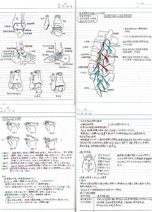 あじさい鍼灸マッサージ治療院 院長の専門学校生時代のノート