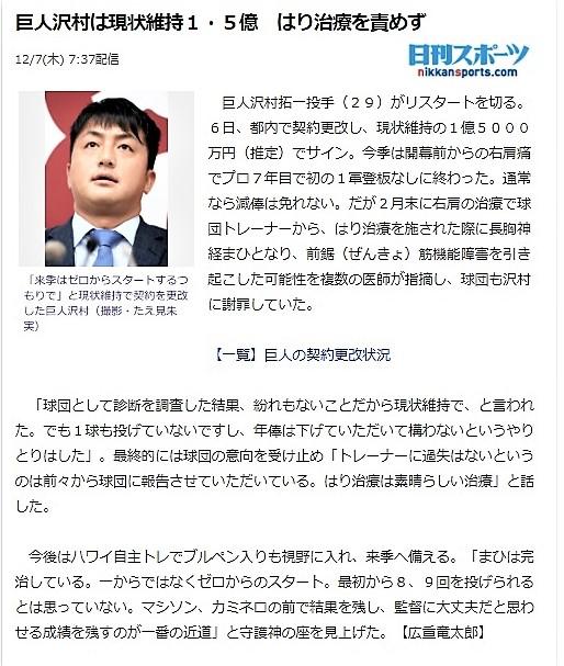日刊スポーツサイト 巨人沢村は現状維持1.5億 はり治療を責めず