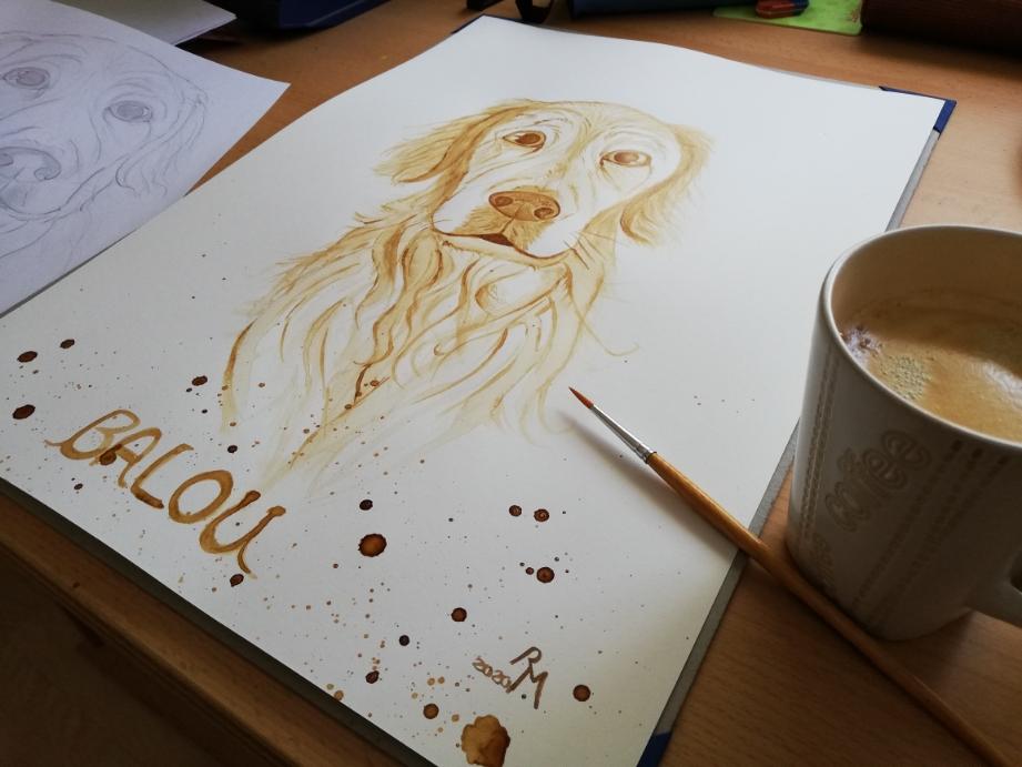 Mein Hund gemalt mit Pinsel und Kaffee.