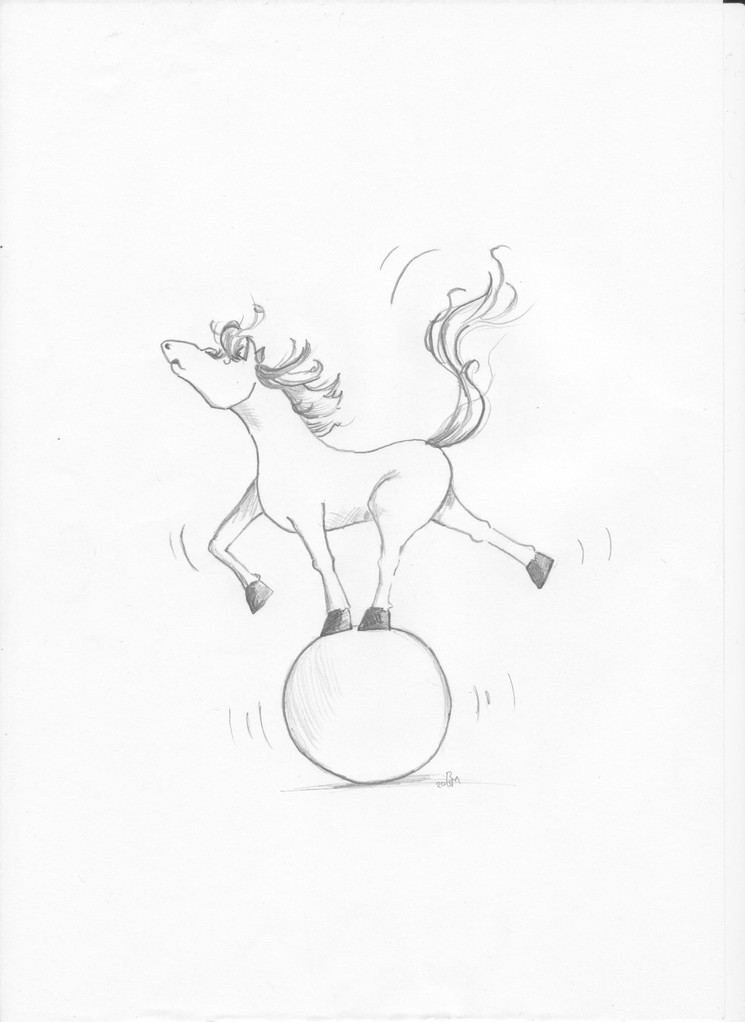Pferd balanciert auf einem Ball