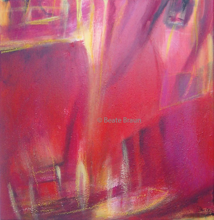 Malimba Rot | 50 x 50 cm | Erdpigmente/Eitempera auf Leinwand | 2001