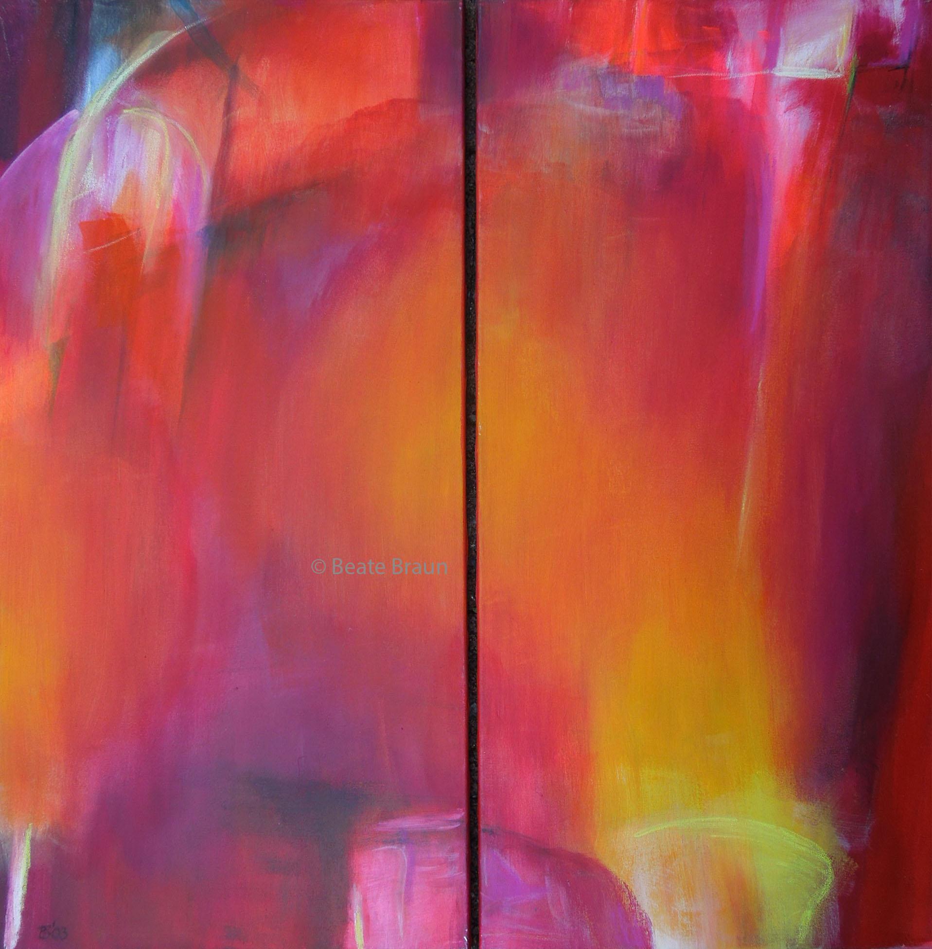 der rote Strahl Dyptichon | jeweils 50 x 100 cm | Acryl auf Leinwand | 2003