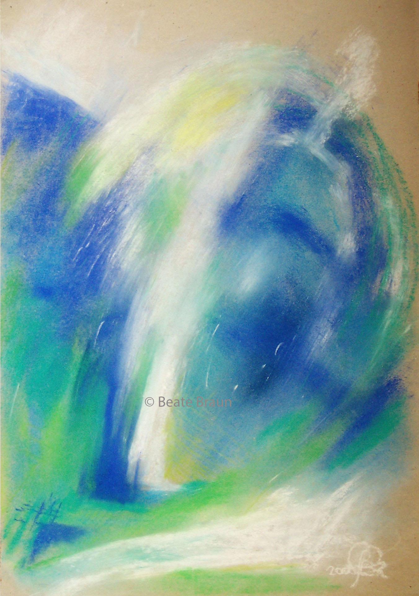 Wirbel Blaugrün | 30 x 40cm | Pastell auf Papier | 1998
