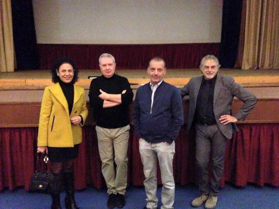 Il Vice Presidente Consiglio Regionale Veneto Massimo Giorgetti con il regista M.V. Quattrina, l'attore Michele Vigilante e Grazia Pacella Presidente ACSV