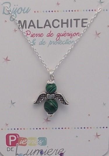 malachite, ange, pendentif, collier, bracelet, pierres gemmes, vertus, propriété, lithothérapie, bijoux