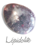 Lépidolite,  pierre gemme, pierre roulée, pierre brute, galet