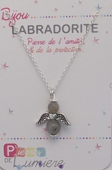 labradorite, ange, pendentif, collier, bracelet, pierres gemmes, vertus, propriété, lithothérapie, bijoux