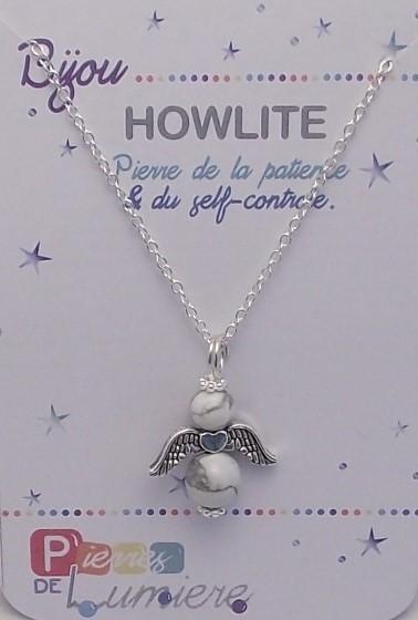 howlite, ange, bracelet, pierres gemmes, vertus, propriété, lithothérapie, bijoux