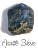 Apatite bleue Pierres de Lumière Saint Rémy de Provence, pierre roulée, pierre brute, galet, lithothérapie, vertus, propriétés, ésotérisme