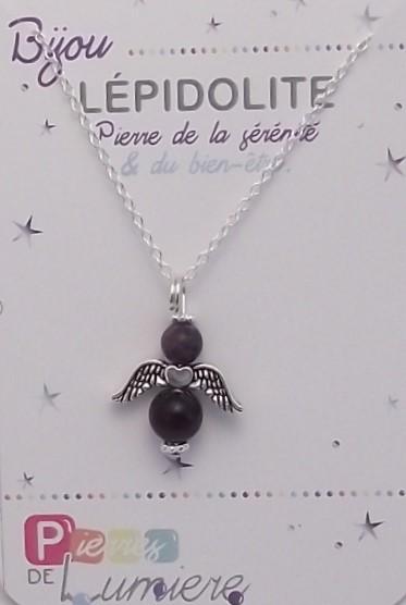 lépidolite, ange, pendentif, collier, bracelet, pierres gemmes, vertus, propriété, lithothérapie, bijoux