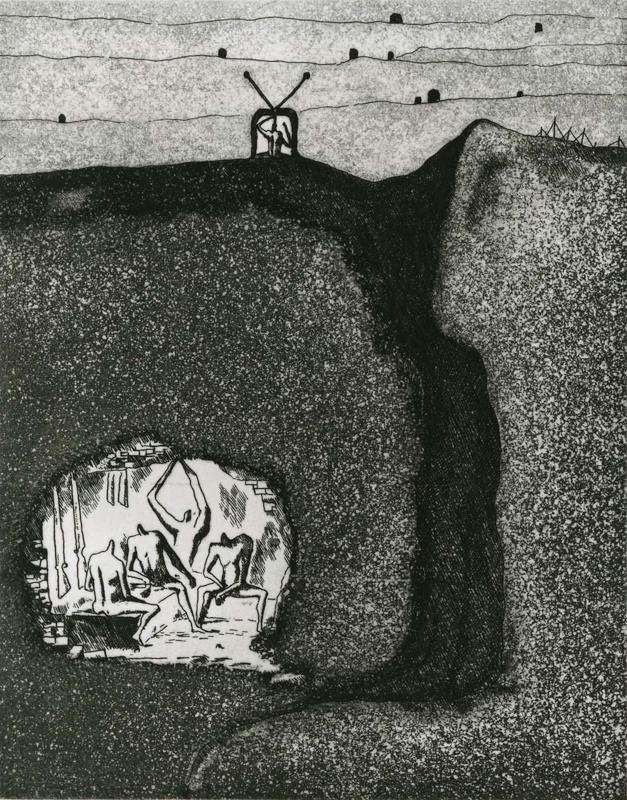 Elegy for a New Conscript: Encampment / etching, aquatint / 20.0×15.5cm / 1953 「初年兵哀歌(陣地)」エッチング・アクアチント
