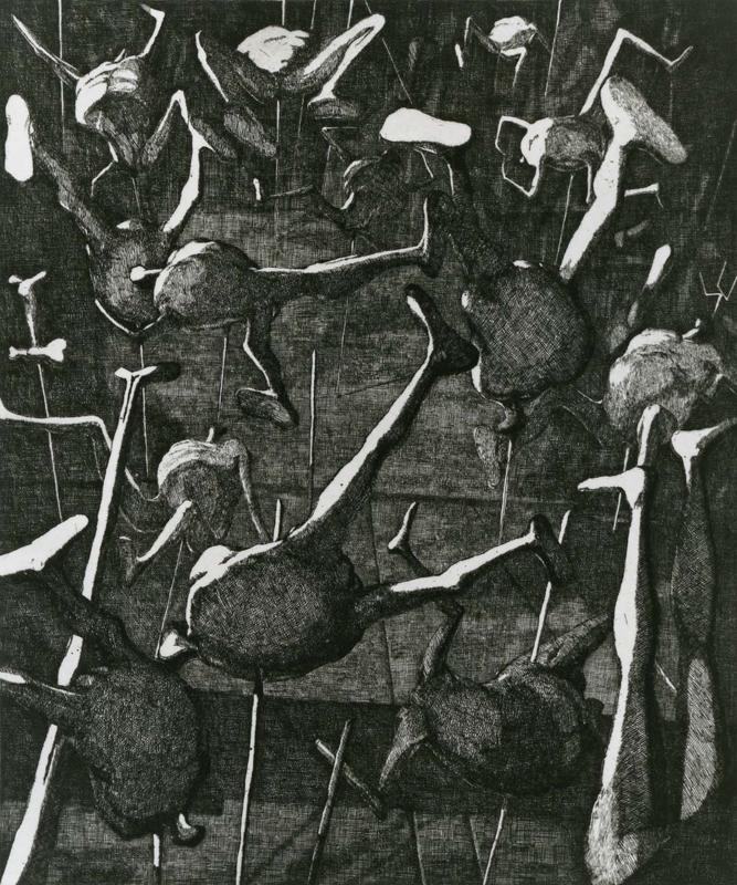 Landscape / etching / 36.2×29.8cm / 1953 「風景」エッチング