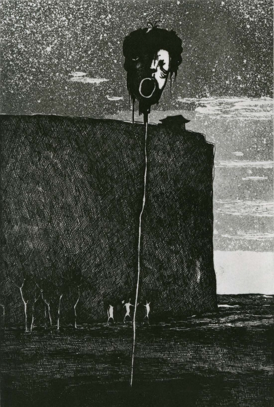 Elegy for a New Conscript / etching, aquatint / 22.5×14.9cm / 1952 「初年兵哀歌」エッチング・アクアチント
