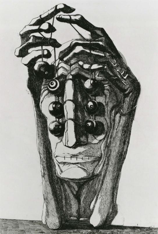 Deranged Man / etching, aquatint / 28.8×19.7cm / 1957 「狂った男」エッチング・アクアチント