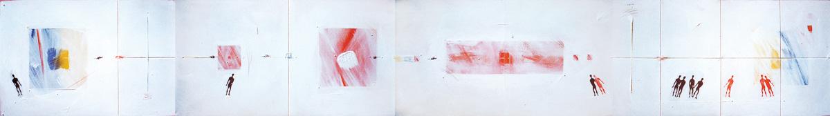 Mixed Media '87 / mixed media, canvas / 80×600cm / 1987 ミクストメディア '87 / ミクストメディア、キャンバス