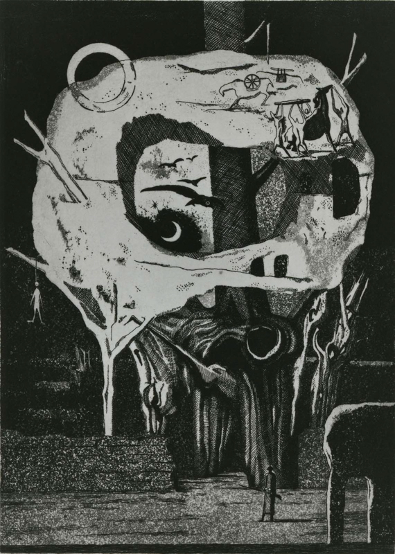 Elegy for a New Conscript: Sentinel / etching, aquatint / 30.4×21.5cm / 1951 「初年兵哀歌(歩哨)」エッチング・アクアチント