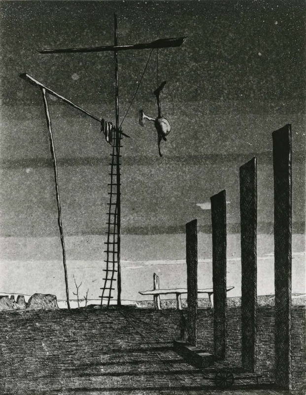 Execution Ground(A)/ etching, aquatint / 24.7×19.0cm / 1954 「刑場(A)」エッチング・アクアチント
