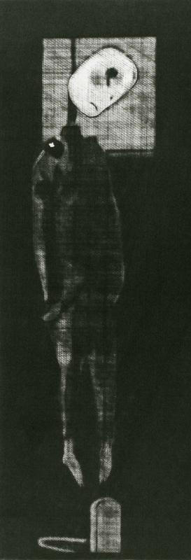 Elegy for a New Conscript: Legend of a Latrine / mezzotinto / 24.1×8.6cm / 1951 「初年兵哀歌(便所の伝説)」メゾチント