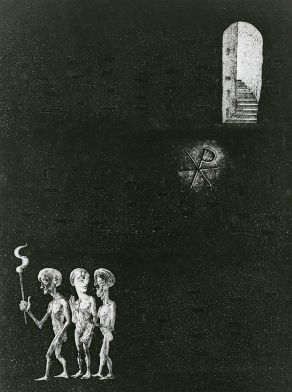 Catacomb / etching, aquatint / 49.5×36.5cm / 1982 「カタコンべ」エッチング・アクアチント