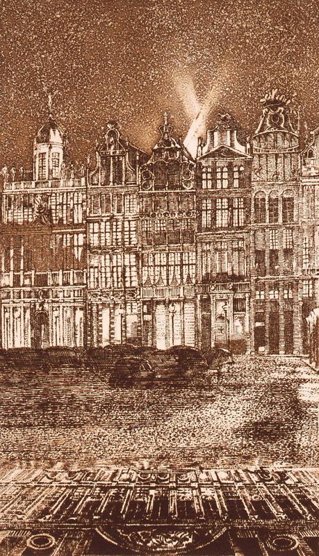 La Grand Place / etching, aquatint / 26.2×15.5cm / 1970 「グランプラス」エッチング・アクアチント
