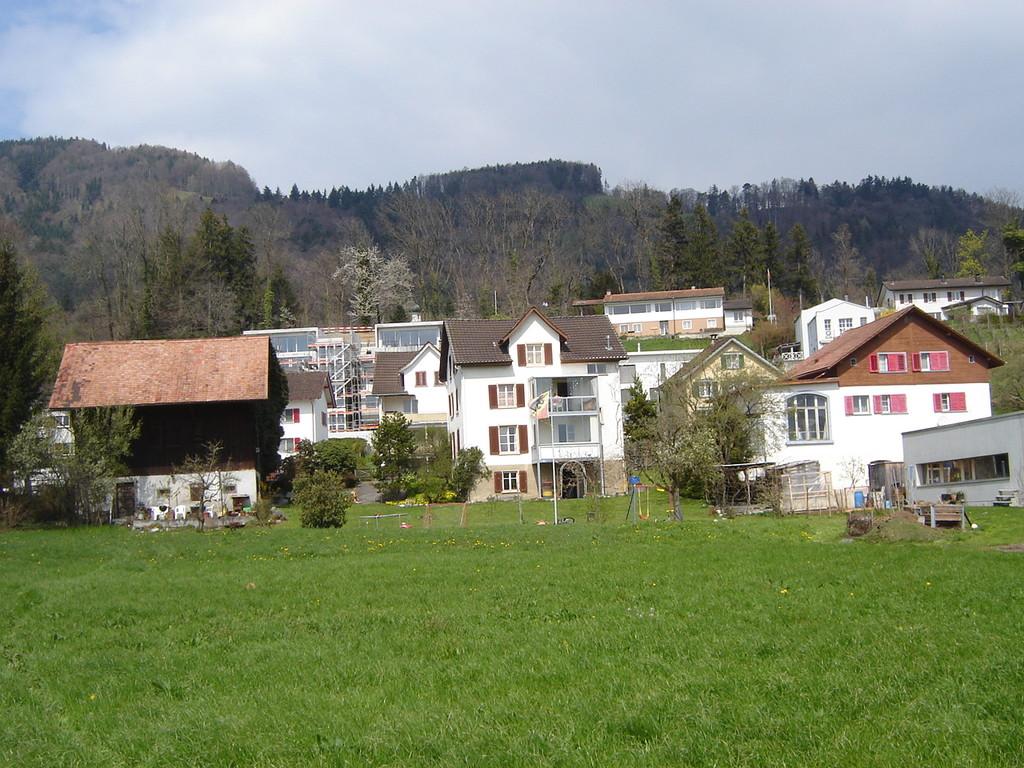 Meier-Bauten vom Riet aus gesehen