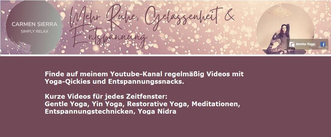 Mein Youtube Kanal mit wöchentlich neuen Videos zu Yoga, Meditation und Entspannung.