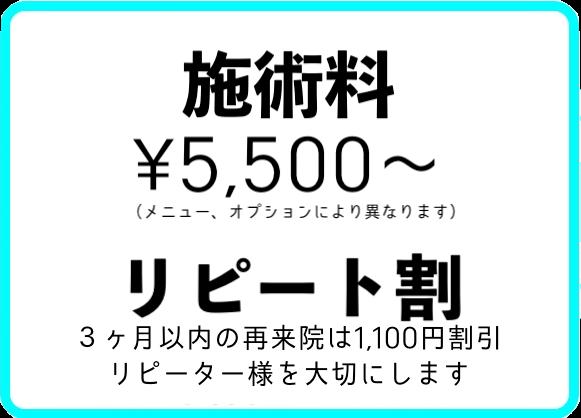 施術料5,500円より リピート割 3ヶ月以内の再来院は1,100円割引 リピーター様を大切にします