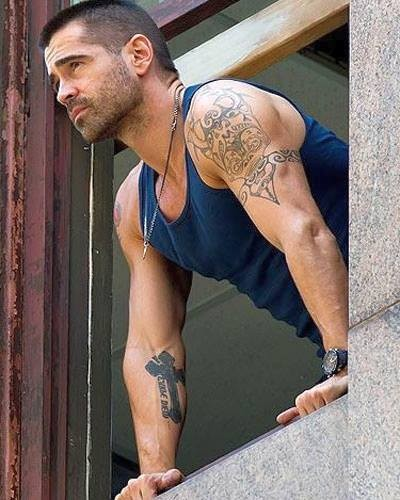 Another man who wears his ink well...Colin Farrell.