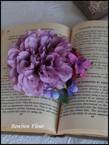 118 ボンボンダリアと紫陽花、すみれのコサージュ