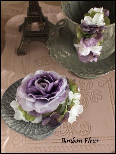 110 ネオラナンキュラスと紫陽花のコサージュ&バングル