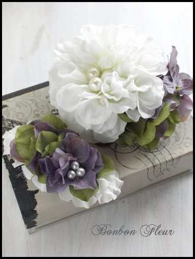 67 ボンボンダリアと紫陽花のコサージュ、お揃いのバレッタ