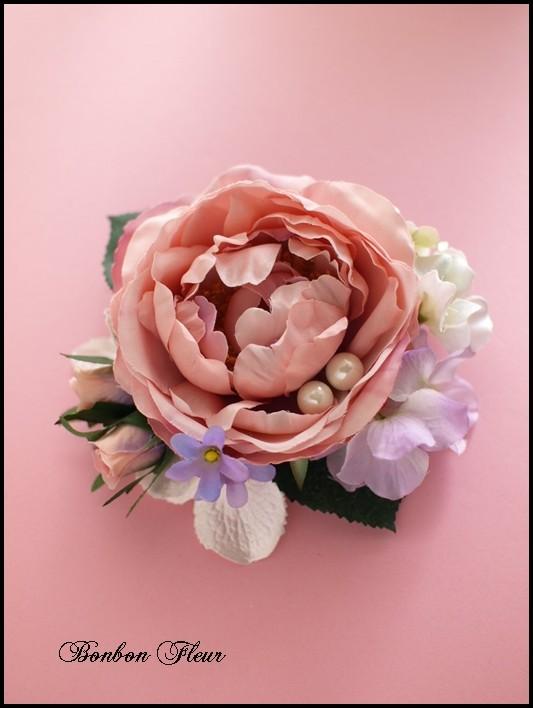 34 キャベッジローズと紫陽花のコサージュ