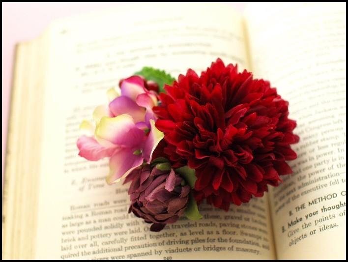 47 ボールマムと紫陽花、つぼみの髪飾り