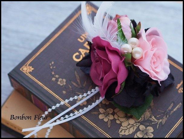 129 シングルローズとつぼみ、ブラック紫陽花、フェザーの髪飾り