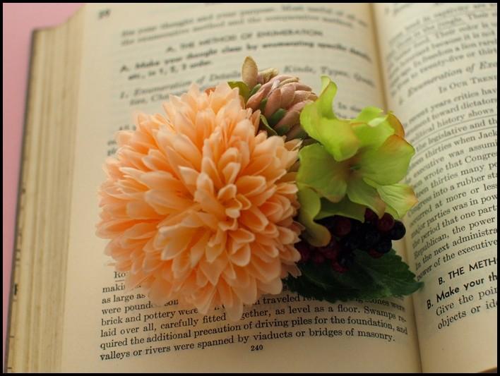 48 丸菊と紫陽花、つぼみ、ベリーの髪飾り