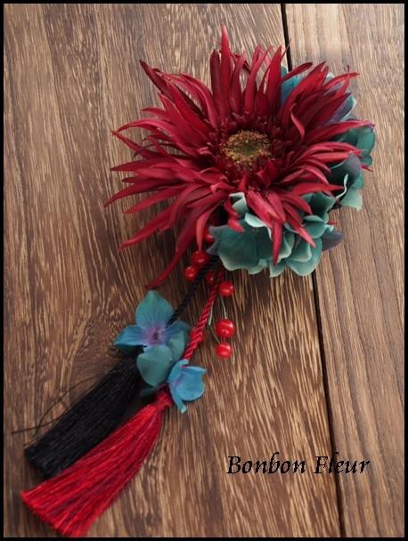 123 ガーベラと紫陽花の髪飾り