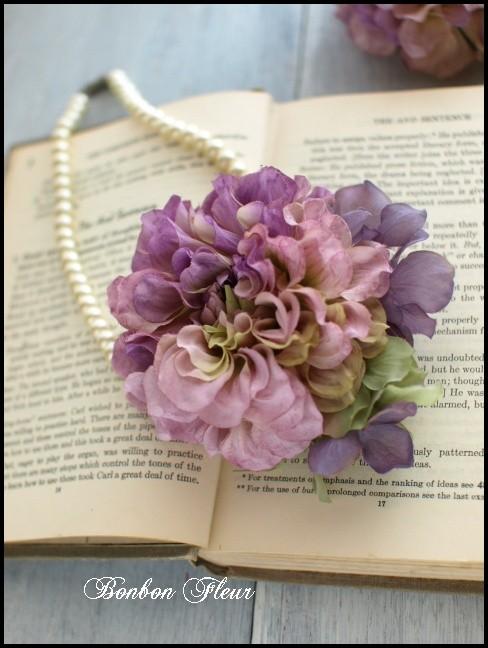 72 ボンボンダリアと紫陽花のコサージュ