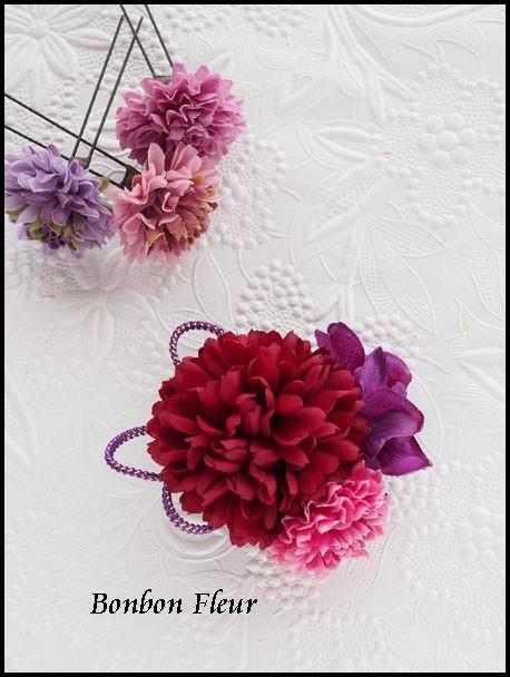 セミオーダー制作例七-101 ミニ丸菊*ダークレッド+紫陽花*パープル、ミニボールマム*ラズベリー、組紐*紫×金