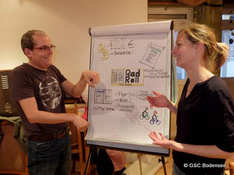Holger Nagel mit Gebärdensprachdolmetscherin Lisa Gmeiner