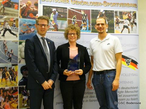Andreas Mühlbauer-Füll (DGS-Vizepräsident für Leistungssport), Bianca Metz, Steffen Kern (stellvertr. Verbandsfachwart für Radsport)