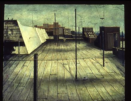 """Sholem Aleichem Roofs 1"" by Daniel Hauben (24"" X 30""  Oil on Canvas - 1986)"