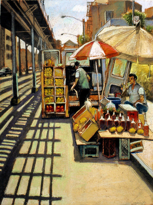 """Mango Vendor I"" by Daniel Hauben (Pastel on Paper, 32""x 22"", 1994)"