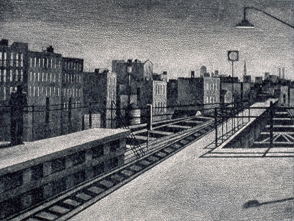 """Man on the Station"" Etching by Daniel Hauben"