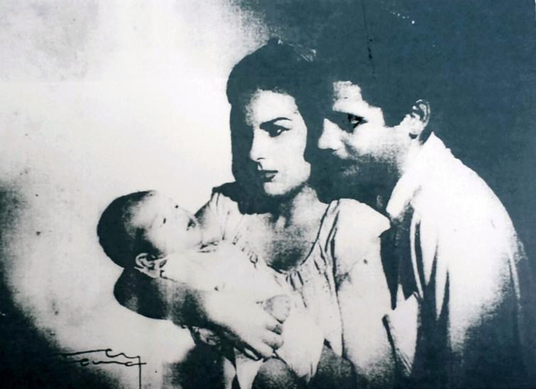 Con su esposa cubana Eugenia Pérez y el hijo de ambos, Danielito, que nació en 1948.
