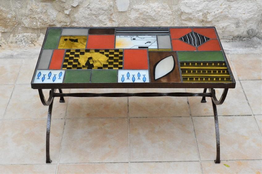 table basse rectangulaire verre et acier