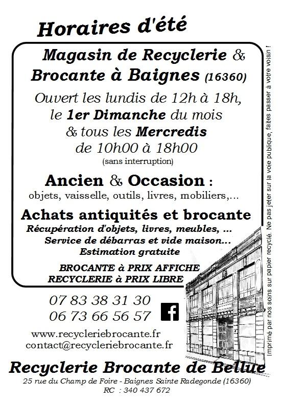 Flyer recyclerie brocante de Bellue, Baignes Sainte Radegonde (16360)