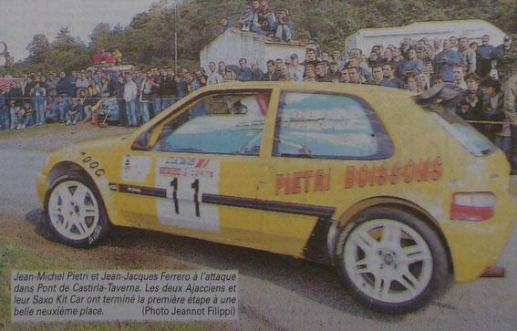 La Saxo avec laquele il a remporté sa 1 ère course . Ci dessus à Corte .