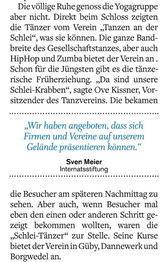 Der Tanzverein steht nicht nur in der Zeitung...